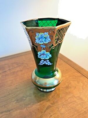 Bohemian 24K Gold Gold Enamel Gilded Emerald Green Crystal Vase Hand Painted