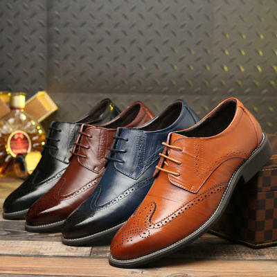 Men's Leather Shoes Formal Oxfords Dress Lace up Brogue wing tip Wedding Suit