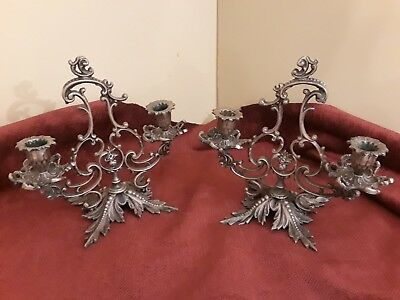 Pair of Vintage Candle Gilt Bronze Leaf Two Candle Candelabra