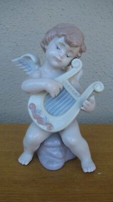 LLADRO Vintage Baby Angel Playing Harp Musical Instrument Made ITALY Fine Piece