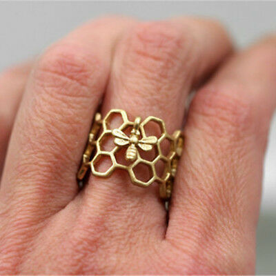 Cute Women Honeycomb Ring tiny bee Adjustable Beehive Finger ring nature jewelry