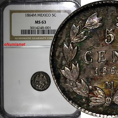 Mexico EMPIRE OF MAXIMILIAN Silver 1864 M 5 Centavos NGC MS63 2 YEARS KM# 385.1