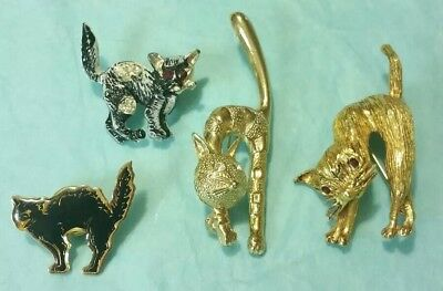 VINTAGE Estate Lot of 4 Arched Back HALLOWEEN Cats Rhinestone BROOCHES Pins