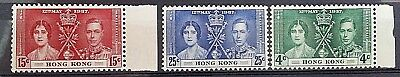 Hong Kong KGVI George VI 1937 Coronation stamp set SG 137-139 mint hinged