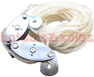 65' Heavy Duty Poly Rope Hoist 500 lbs Wheel Block & Tackle Puller Lift Hanger
