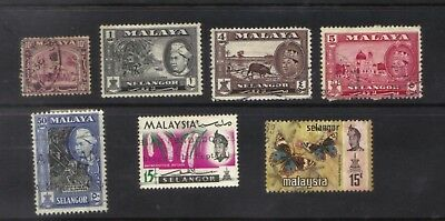 Malaya Selangor 1936 - 1971 Collection 7 Different Used/hinged