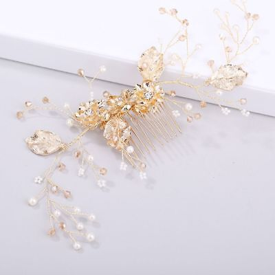 Gold Flower Pearl Bride Tiara Crystal Comb Jewelry Hair Accessories Headpieces