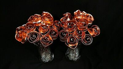 3 Bright Copper Forever Roses #813 Valentine's Mother's Day Housewarming Present
