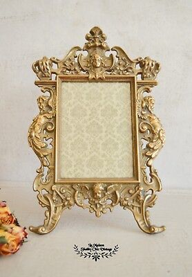 Rare Grand Brass Photo Frame Brass Ornate Rococo Scroll Frame With Glass Front