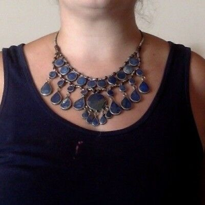 Belly Dancers' Treasure: Tribal Lapis Lazuli Bib Necklace Silver Alloy Afghani
