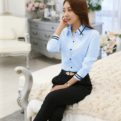 Ladies Long Sleeve Turn-Down Collar Formal Office Work Shirt Tops one