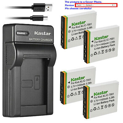 Kastar Battery Slim Charger for KLIC-7001 K7001 & ROLLEI CL200 CL-200 Camera