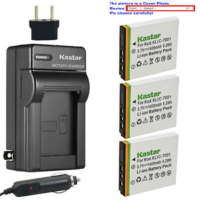 Kastar Battery AC Charger for Kodak KLIC-7001 & Kodak EasyShare M340 Camera