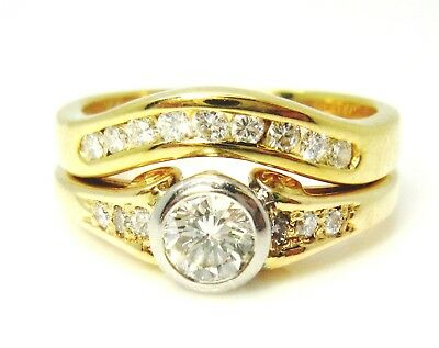 18ct 750 18K Yellow White Gold 0.65ct Diamond Engagement and Wedding Rings.