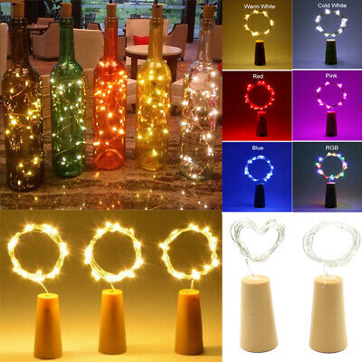 1- 8X Copper Wire Wine Bottle Cork Battery Fairy String Lights 1M 10LED 2M 20LED
