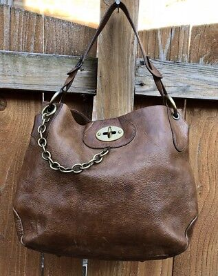 Paolo Masi Dark Brown Leather Hobo Tote Turn Lock Chain Purse Shoulder Bag Italy