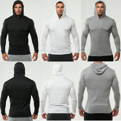 Mens Muscle Fit Gym Hoodie Bodybuilding Athletic Apparel Pullover Sweats T-Shirt
