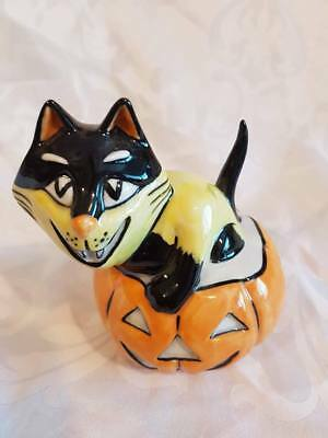 RARE Lorna Bailey Halloween Cat sat in a Large Pumpkin  Signed in Black