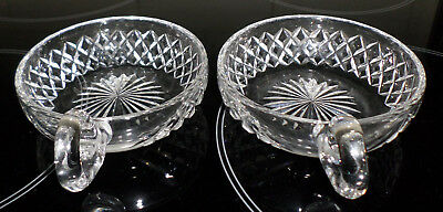 2 Collectable Vintage Crystal Small Bowls With Finger Carry Handles