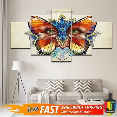 5 Pcs Colorful Butterfly Flower Eye Abstract Canvas Wall Art Poster Home Decor