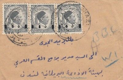 N 3604 Benghazi  Feb 1956 tiny cover UK; 3 value overprinted stamps