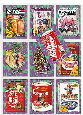 2017 Wacky Packages 50th Anniversary complete Best of 80's sticker set & Wrapper