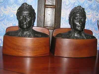 Antique Tiffany Bronze Bookends Dante Circa 1925