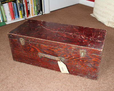Vintage Rustic Wood Trunk Tool Box