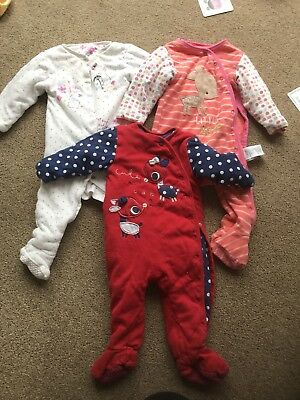 Mothercare Walk In Sleeper / Wadded Sleep Suits (9-12 Months) X 3