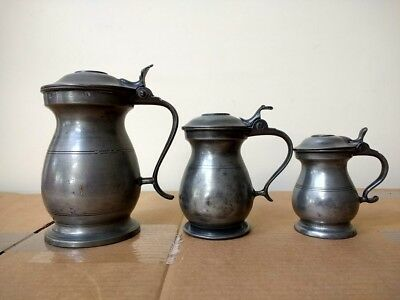 3 19th Century Scottish Pewter Lidded Measures - Pint, 1/2 Pint and Gill