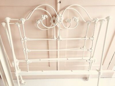 Vintage single bed frame, cast iron, powder coated in cream W 3ft by L 5ft