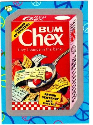 "2008 Wacky Packages Flashback 1 {FB1} Silver Border ""BUM CHEX"" #17 Sticker Card"
