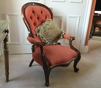 Elegant Victorian Walnut Button Back Open Armchair VGC