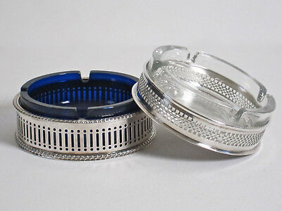 Two Vintage Silver Plate on Copper Ash Trays w/ Glass Liners Sheffield