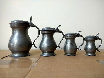4 Scottish (Glasgow) Pewter Lidded Measures Pint, 1/2 Pint, Gill, and 1/2 Gill