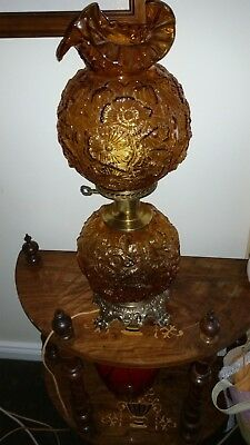Fenton Gone With The Wind Amber Poppy Lamp, Excellent Condition