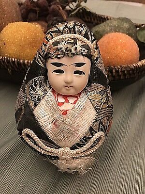 Vintage Japanese Wedding Ball/ Round Doll In Brocade Clothing