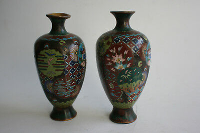 Pair of Antique Japanese Chinese Bronze Cloisonne Small Vase