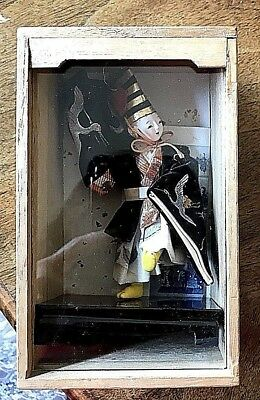 Antique Japanese Gofun Dancing Doll In Original  Box And Handpainted Silk Clothe
