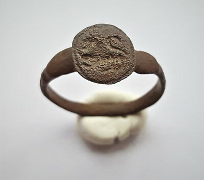 Ancient Roman Bronze Seal Ring,lion, 2-3 Ad