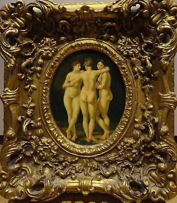 19th Century Classical Greek Myth Nude The Three Graces Antique Oil Painting
