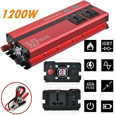 Peak 2000W Car Auto Power Converter Inverter Charger 4 USB DC 12V to AC 110V ER