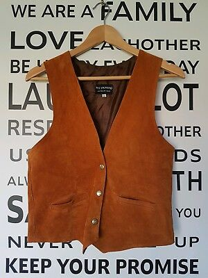 Vintage Boho hippy tan suede leather vest made in aust size 12