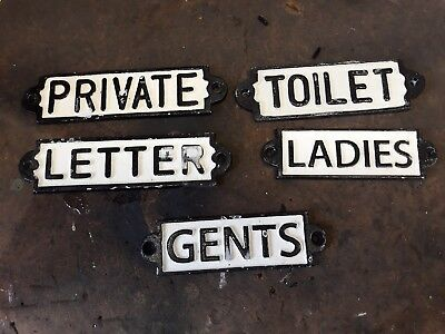 Cast Iron Original Vintage Door Signs