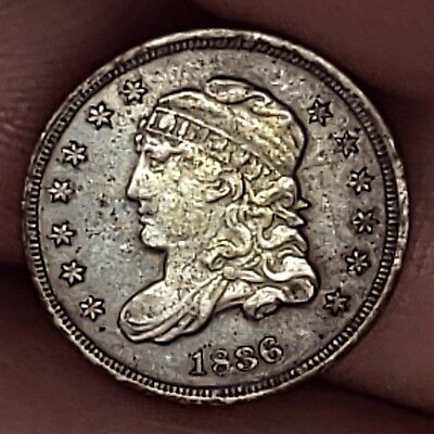 1836 Silver Capped Bust Half Dime 5c Circulated Coin.