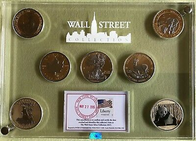 Wall Street Investment Silver Collection 2015 7 x 24ct. gilded & platiniert