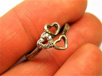 Old vintage retro Sterling Silver 925 ring with hearts authentic women's 129s