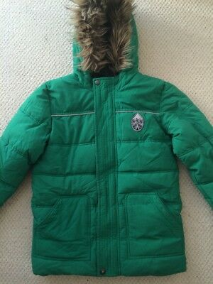 marks & spencers M&S boys warm winter coat padded green hooded age 11-12 years