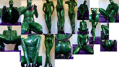 ZENTAI 100% Latex Catsuit m Zehensocken 5-toe socks gloves mask hood M/XL custom