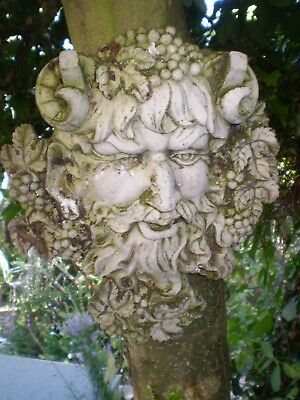 Architectural Salvage, Vintage French God Of Wine Wall Plaque,Green Man Style